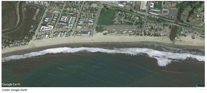 photo overhead view of Carpinteria beach
